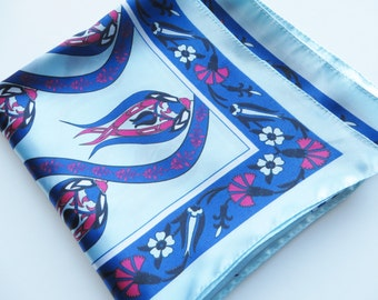 Vintage early 1990's blue and pink scarf, Royal blue scarf, Blue floral scarf, Summer scarf