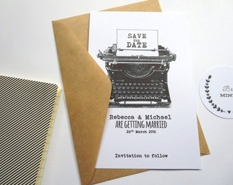 Vintage Typewriter Save The Date card