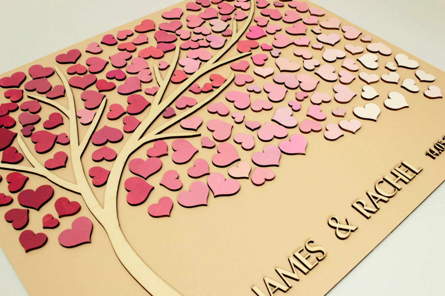 custom wedding guest book alternative tree 3d wood hearts