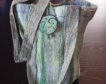 Handwoven Rag Purse with Ceramic Button Blue Green Teal Grey