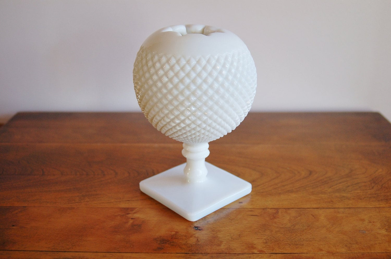 English Hobnail Milk Glass Ivy Ball Rose Vase By Westmoreland