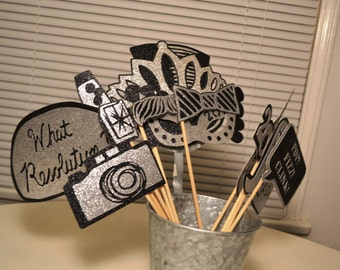 Silver and Black New Years Eve Party Photo Booth Props - Order by Monday to receive by Thursday. Ships Priority Mail!