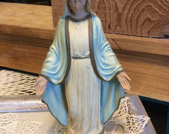 Vitage Virgin Mary Statue Lt Blue Italian