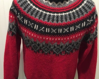 Wool / Red / Black and White Norweigian Ski Design Woolrich Sweater Men's Size M