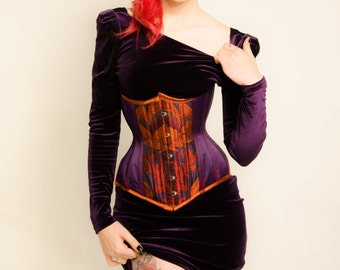 Purple Satin & Silk Brocade Steel Boned Underbust Corset 20 Inch Waist