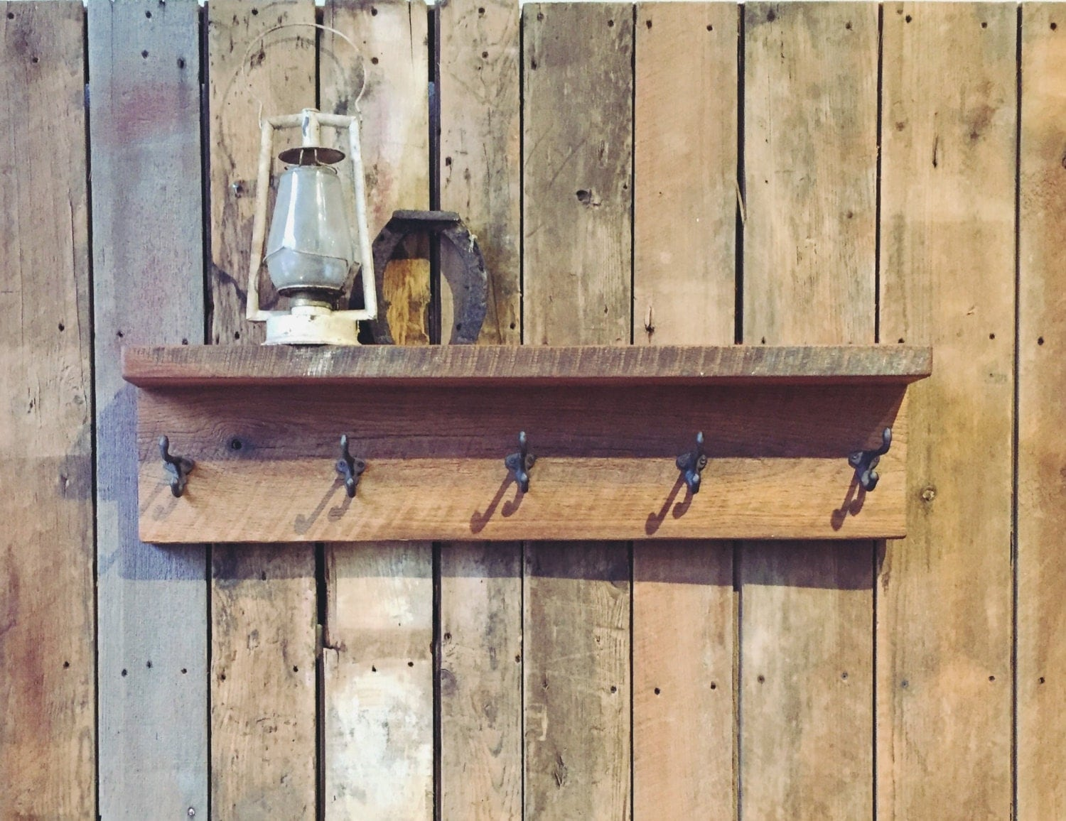 Reclaimed wood coat rack with shelf barn hanger