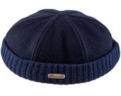 Docker Beanie Cap 'Leon' Stevedore / Longshoreman style, made of Wool Cloth with Ribbing - navy blue