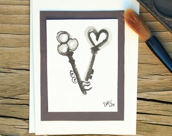 Two vintage keys sumi e painting blank card/Japanese sumi e painting/Black ink art/Japanese art/Blank card/Watercolor painting