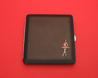 Ballerina Black Faux Leather Cigarette Case with Hand Cast Pewter Motif Mother Father's Day Gift Dancer Gift