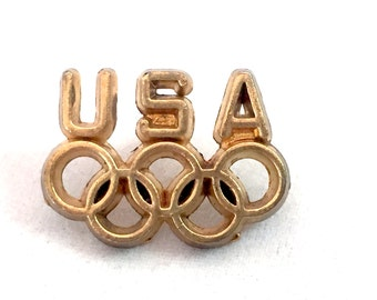 Vintage Classic USA Five Olympic Rings Lapel Pin, Gold Tone Olympics Brooch, Sports Pin Back Closure, Olympics Tie Tack
