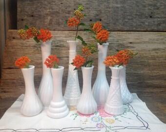 Vintage Set of White Milk Glass Vases, Wedding Vases, Set of Eight.