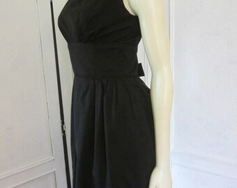 "1950s Black Cotton Sleeveless LBD by ""Maggi Stover,"" Size 4 - 6"