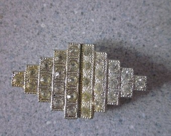 1930s Silver Metal Rhinestone-Embellished Belt Buckle