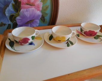 Cups saucers STETSON CUPS and SAUCERS yellow flower red flower cups vl team