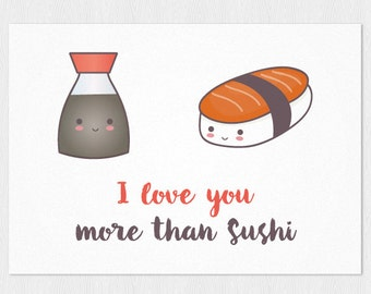 """Nigiri sushi salmon and Soy sauceAnniversary card PDF DIY printable 6""""x4"""" - funny Valentine card - instant card I love you more than sushi"""