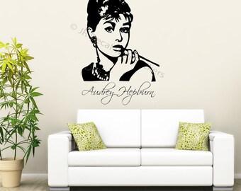 Large AUDREY HEPBURN Wall art Sticker CELEBRITY vinyl decal removable wall sticker stencil 2