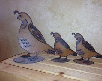 YARD ART QUAIL Family Mom and 2 Babies made of Rusty Rustic Rusted Recycled metal