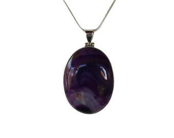 """Purple Banded Agate Gemstone Pendant set in Sterling Silver Bezel with 20"""" Sterling Silver Chain"""