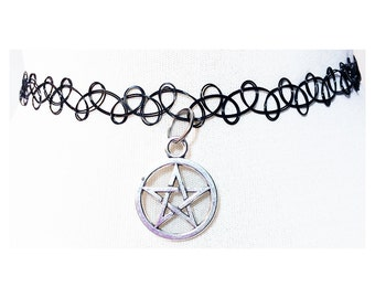 Pentacle Choker - Pentagram - Pastel Goth - Grunge - Metal Choker