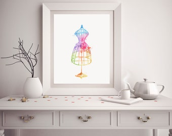 Gifts for Sewers - Sewer Gift - Watercolor Dressform - Sewing Art - Dressform Art - Sewing Room Decor - Watercolor Prints