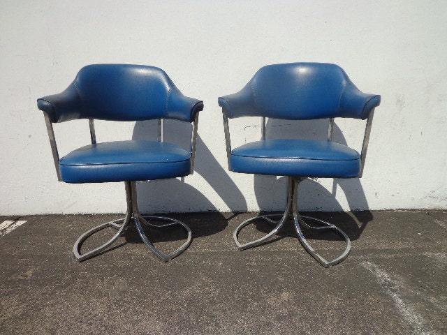 2 Mid Century Modern MCM Milo Baughman Inspired Style Chairs Chrome Metal  Swivel Armchair Regency Vintage Chair Seating Tufted Vinyl MCM