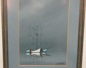 Vintage   PAINTING  of 3  SAILBOATS by Anthony Shemrosky