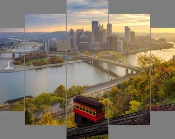 The Usual Haunt Mount Washington Pittsburgh Fall Autumn Skyline Photo Float Mount Metal Print Diamond Quintych - Photograph Picture