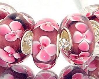 Soft Pink Flower on Pink Murano Glass Bead Charm 925 Silver Fits Trollbeads Chamilia Biagi & All European Charm Bracelet Big hole bead
