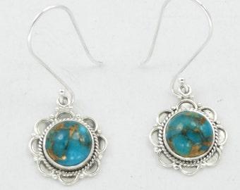 Turquoise Earrings, statement earrings, Blue Turquoise Earrings, 925 silver Earrings, Turquoise Drop Earrings, Natural Turquoise earrings