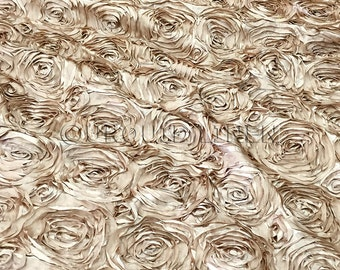 Rose Satin in Champagne - Decorative Fabric With A Rose Embroidery Throughout - Best for Weddings, Bridal Parties, and Events