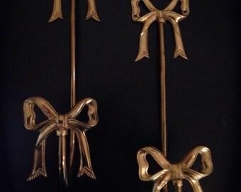 Pair of Brass Bow Curtain Tiebacks or Towelholders