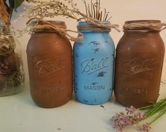 Distressed Blue, Brown, and Gold Mason Jar, Painted Mason Jar, Wedding, Baby Shower