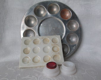Vintage Paint Palettes - Milk Glass, Porcelain, Aluminum