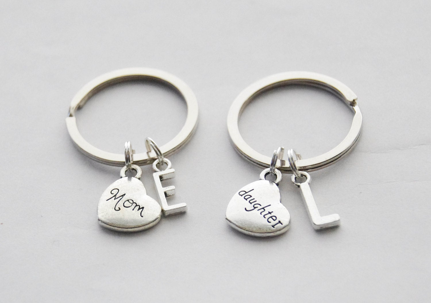Mom Daughter Key Ring Set 2 Heart Keychains Gift Mother Keychain