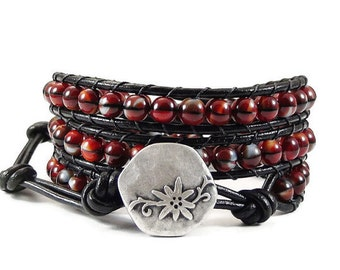 Leather Wrap Bracelet Red and Black Flower Button Beaded Jewelry