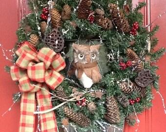 RUSTIC SNOWY OWL Wreath