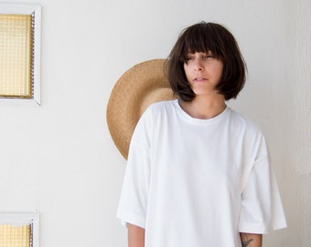 Oversize T-Shirt Dress in White // Casual T dress