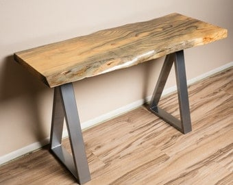 Rustic Modern Aleppo Pine Live Edge Desk with Triangle Legs