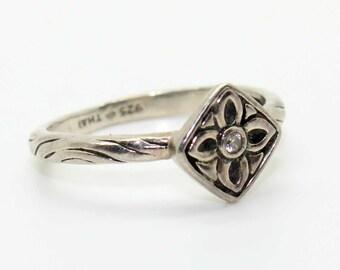 Silpada Flower Stack Ring Belle Fleur CZ .925 Sterling Silver Size 8 R2465 - Vintage Estate Jewelry!