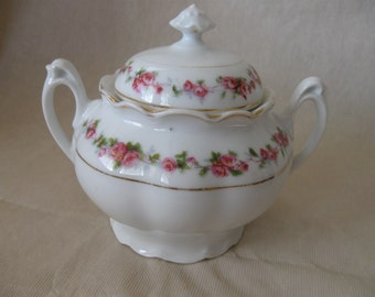Vintage, Handled, Covered Sugar Bowl, White with Pink Roses and Gold Trim,  Unmarked