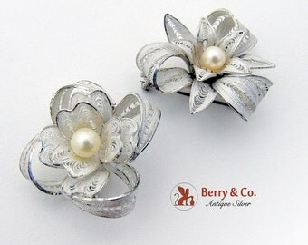 SaLe! sALe! Japanese Filigree Brooches Sterling Silver Cultured Pearls 1940