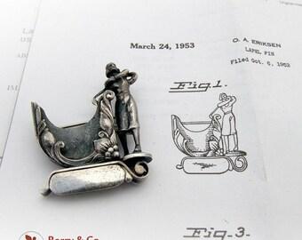 SaLe! sALe! Vintage Woman Golfer Card Holder Lapel Pin Brooch Sterling Silver San Francisco Patented 1953