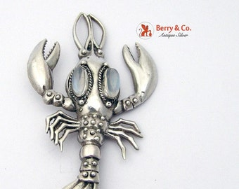 SaLe! sALe! Vintage Lobster Brooch Sterling Silver Moonstones