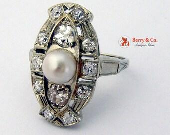 Art Deco Pearl Diamond 18K White Gold Long Ring