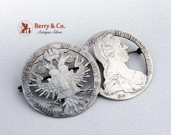 Antique Cut Out Coin Brooch Coin Silver