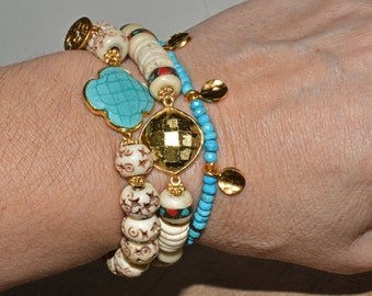 Gypsy Turquoise Beaded Bracelet Boho Stacking Jewelry Hill Tribe Vermeil Dangles