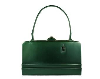 """STRAETER """"LITE ON"""" Leather Handbag in green"""