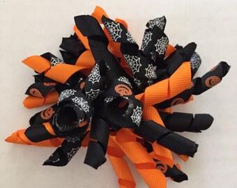 "Orange and Black Halloween Korker Hair Clips 4"" Pumpkins and Spider Webs"