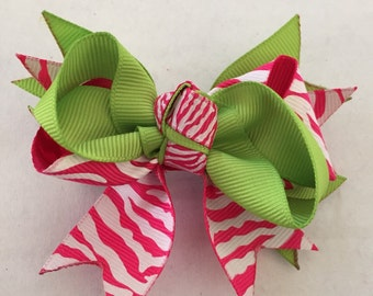 Pink and Lime Green Zebra Hair Bow on Hair Clip 3 1/2""