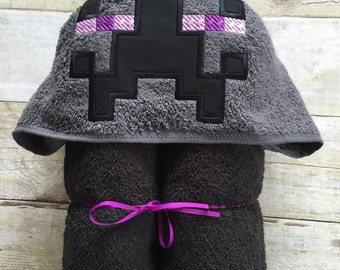 """Game Inspired Purple Man Teleport Guy Applique Hooded Bath, Beach Towel 30"""" x 54""""  Personalization Available"""